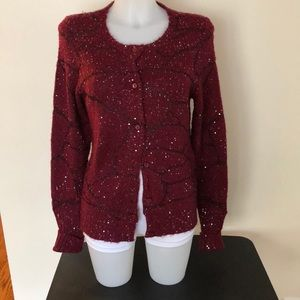 Simply vera burgundy red size M sequined sweater
